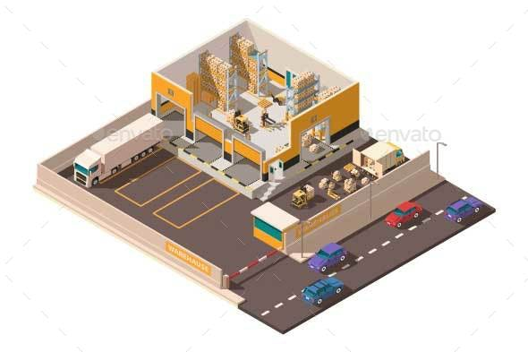 Isometric Warehouse with Territory Parking - Industries Business