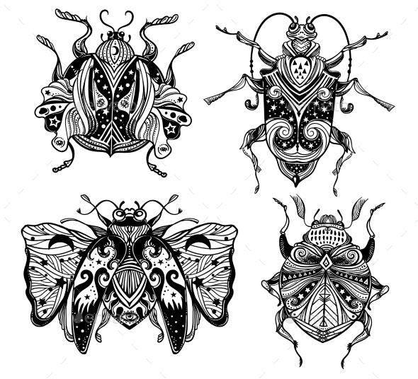 Magic Beetles and Bugs Set - Animals Characters