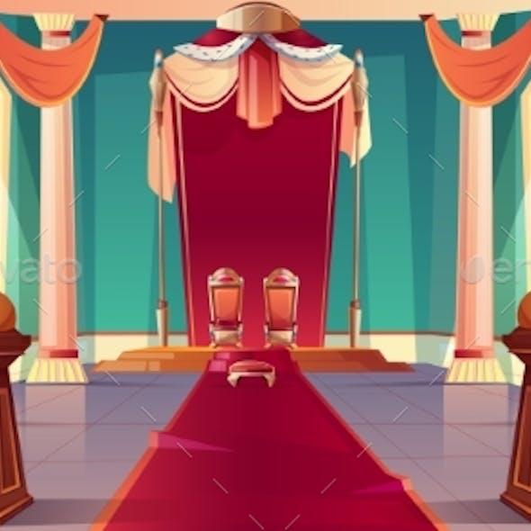 Medieval Kings Palace Throne Hall Cartoon Vector