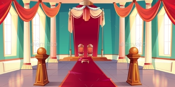 Medieval Kings Palace Throne Hall Cartoon Vector - Backgrounds Decorative