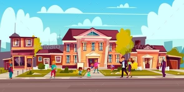 Vector Cartoon Street Sidewalk with People on It - Buildings Objects