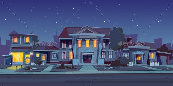 Vector Rental of House Night Background - Buildings Objects