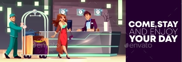 Vector Service in Hotel Reception - Bellboy - Backgrounds Decorative