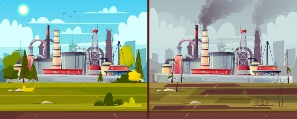 Vector Ecology Concept Environmental Pollution - Industries Business