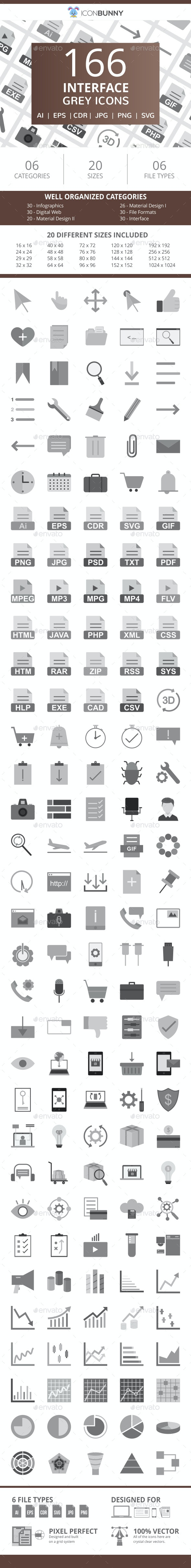 166 Interface Flat Greyscale Icons - Icons