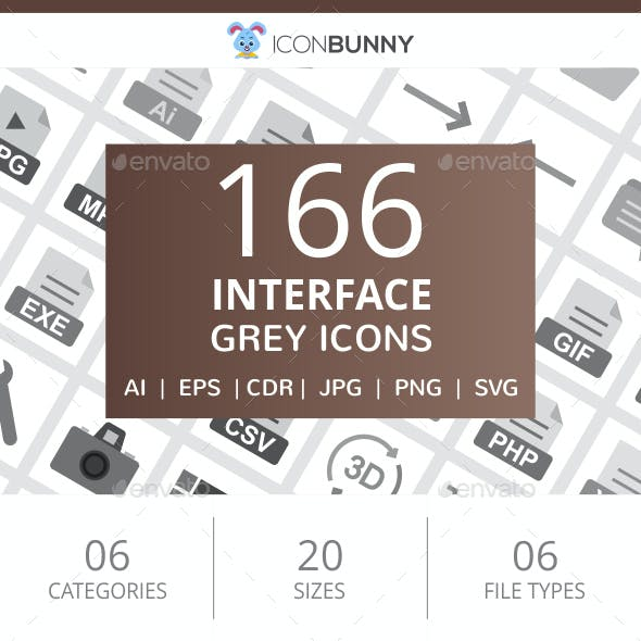 166 Interface Flat Greyscale Icons