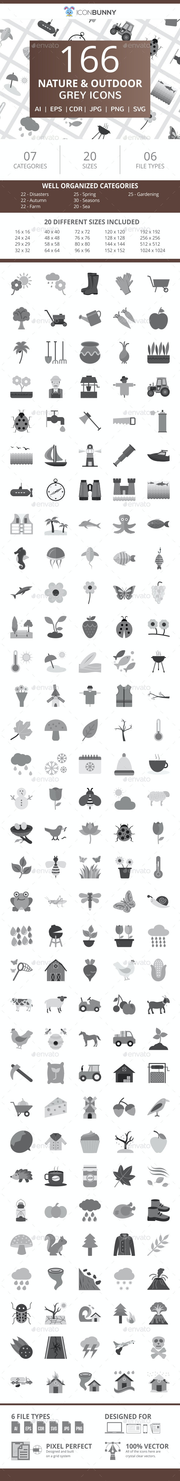 166 Nature & Outdoor Flat Greyscale Icons - Icons