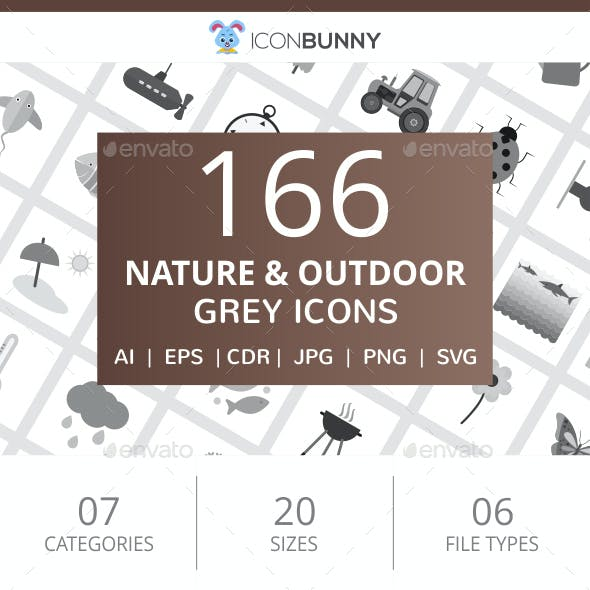 166 Nature & Outdoor Flat Greyscale Icons