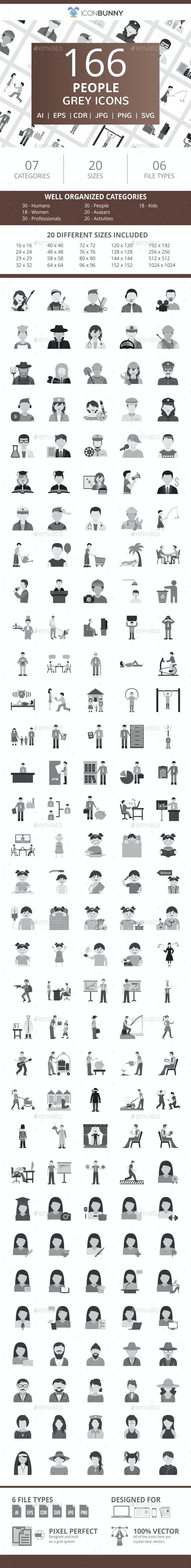 166 People Flat Greyscale Icons - Icons