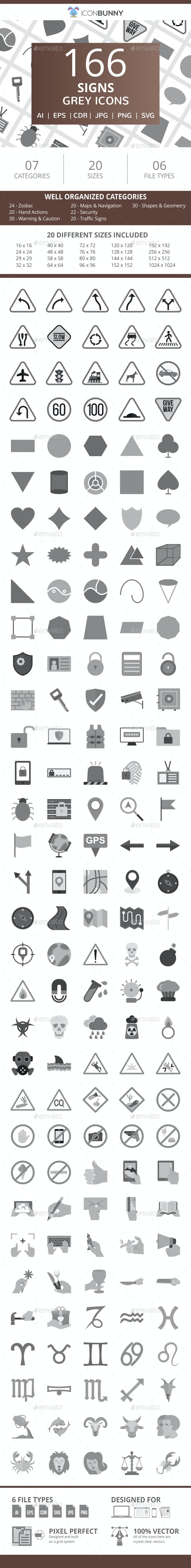 166 Sign Flat Greyscale Icons - Icons