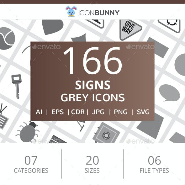 166 Sign Flat Greyscale Icons