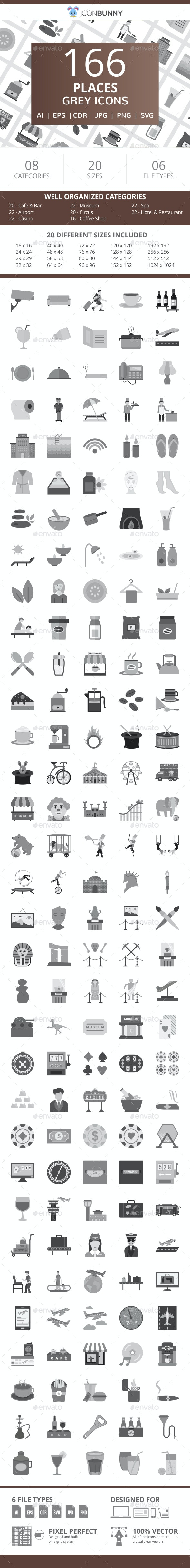 166 Places Flat Greyscale Icons - Icons