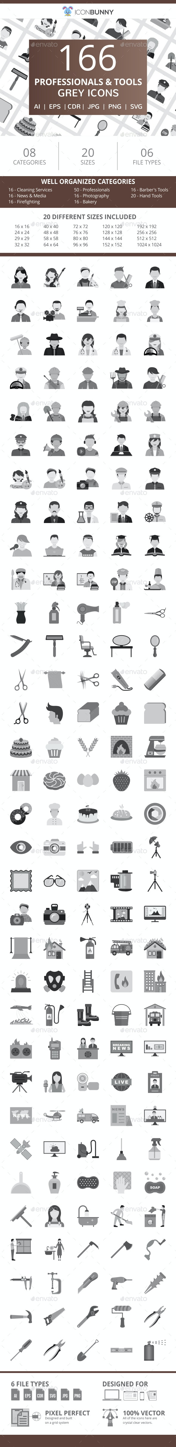 166 Professionals & their tools Flat Greyscale Icons - Icons