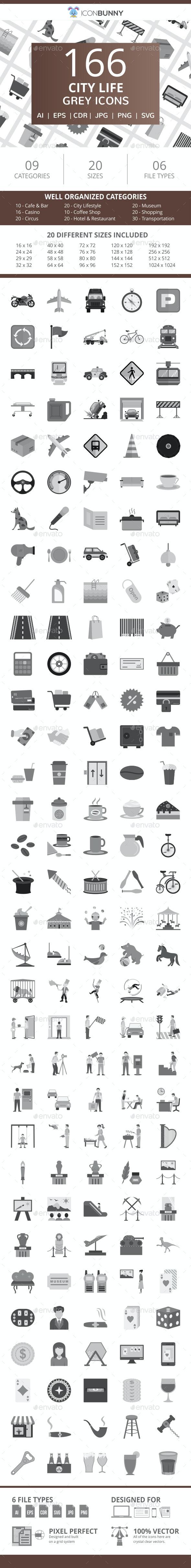 166 City Life Flat Greyscale Icons - Icons
