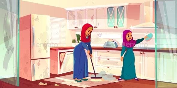 Vector Arabian Ladies Wash Kitchen - People Characters