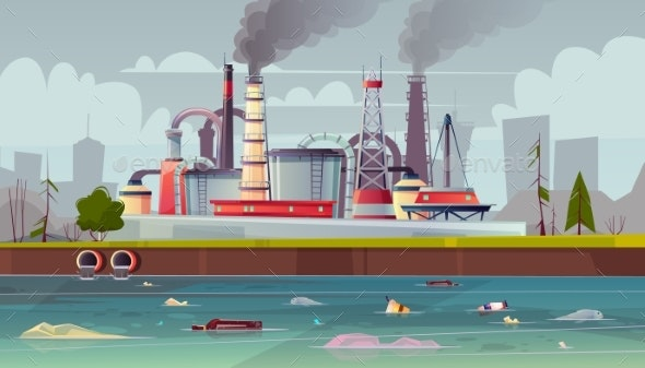 Vector Ecology Concept Water Pollution Factory - Industries Business
