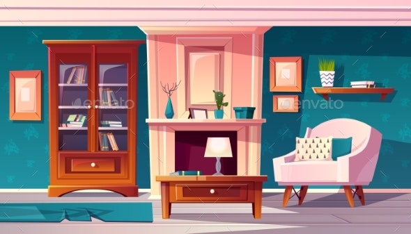 Vector Luxury Cabinet in Room - Backgrounds Decorative