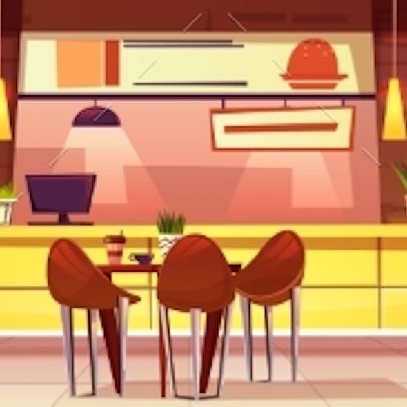 Vector Cartoon Cafe with Various Cuisine
