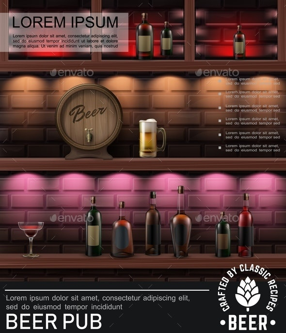 Realistic Pub Colorful Poster - Miscellaneous Vectors
