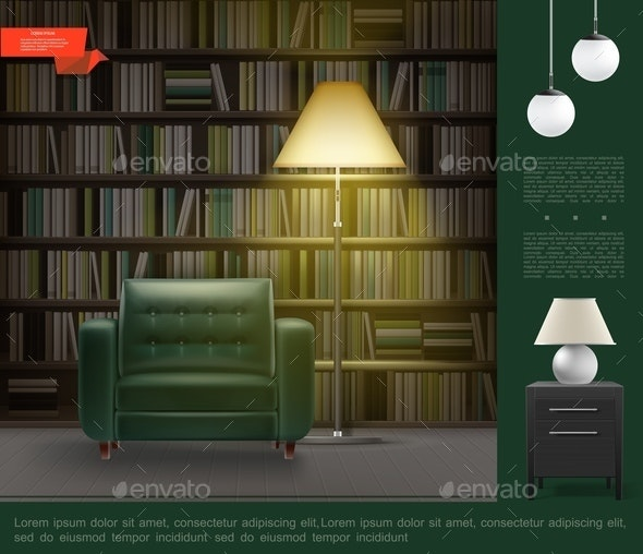 Realistic Home Library Room Interior Template - Miscellaneous Vectors