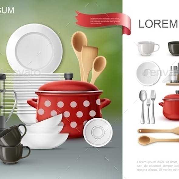 Realistic Dishware and Utensil Composition