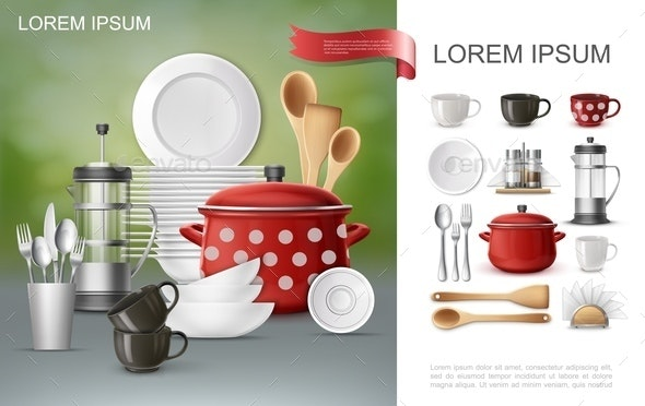 Realistic Dishware and Utensil Composition - Food Objects