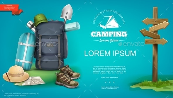 Realistic Summer Camping Template - Travel Conceptual