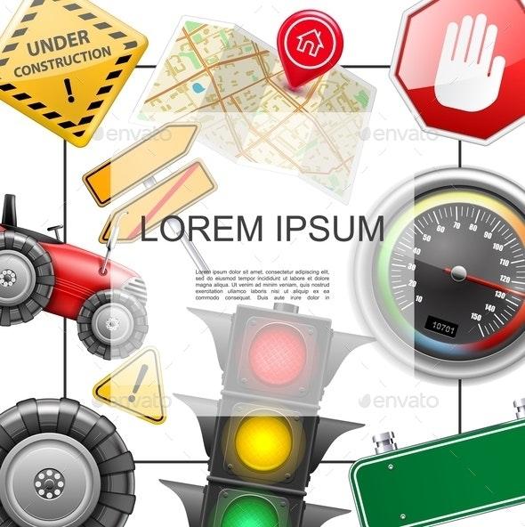 Realistic Road Elements Concept - Miscellaneous Vectors