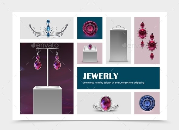 Realistic Jewelry Elements Collection - Miscellaneous Vectors