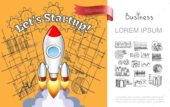 Hand Drawn Business Startup Composition - Concepts Business