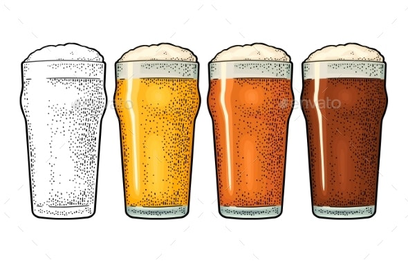 Glass with Three Types Beer - Food Objects