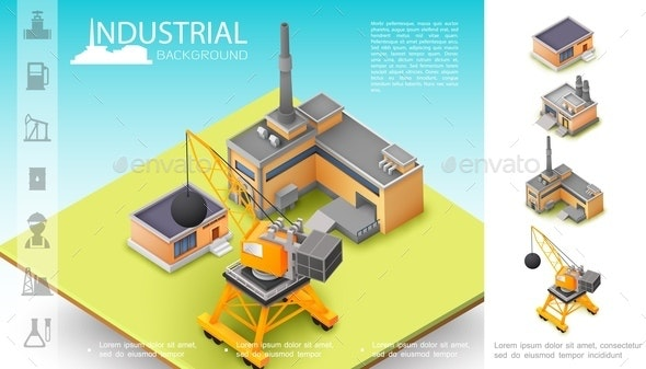Isometric Industrial Manufacturing Concept - Industries Business