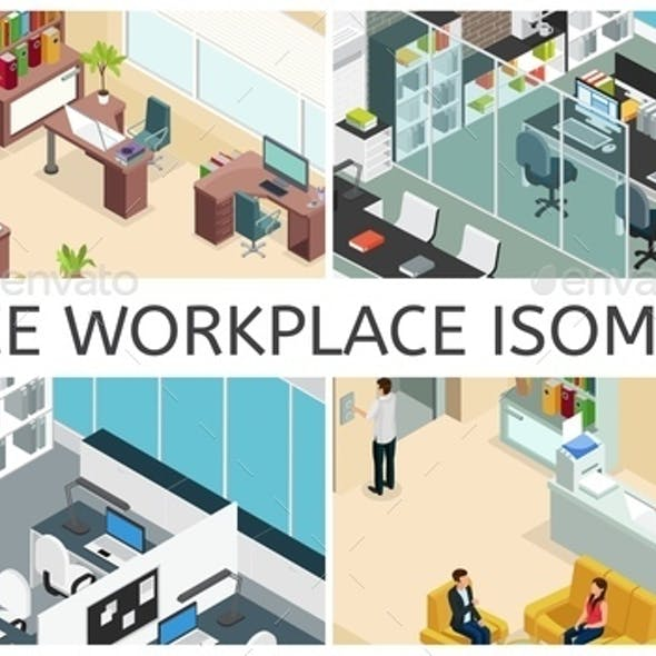 Isometric Office Interiors Composition
