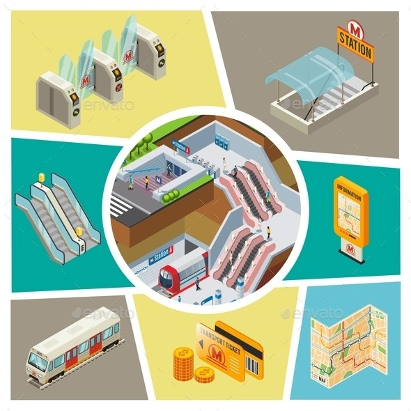 Isometric Subway Elements Composition - Travel Conceptual