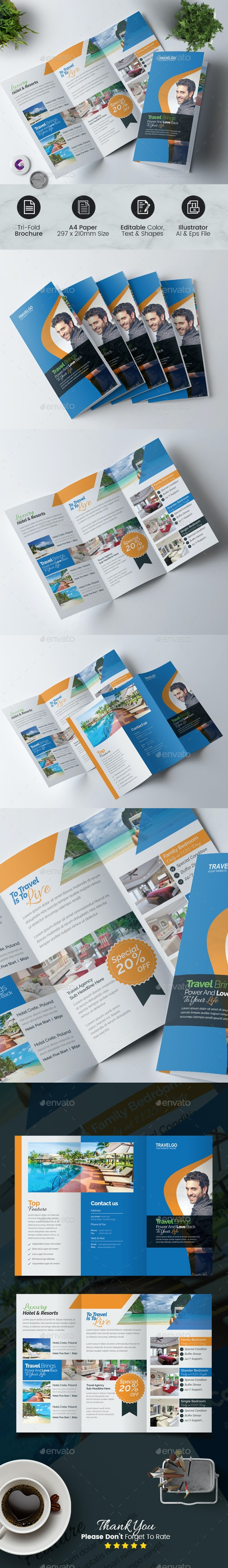 Hotel & Travel Trifold Brochure - Corporate Brochures