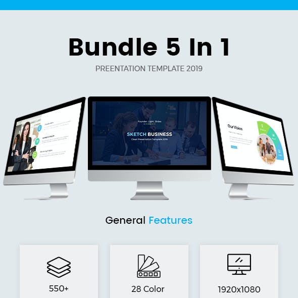 Bundle 5 In 1 Start-Up Pitch Deck Powerpoint Template 2019