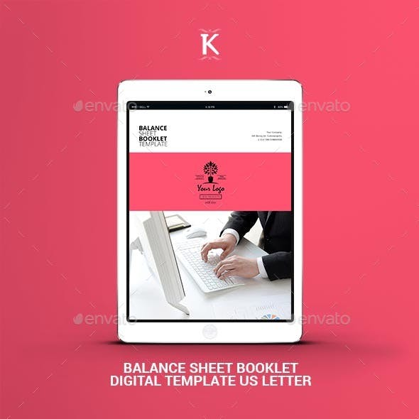 Balance Sheet Booklet Digital Template US Letter