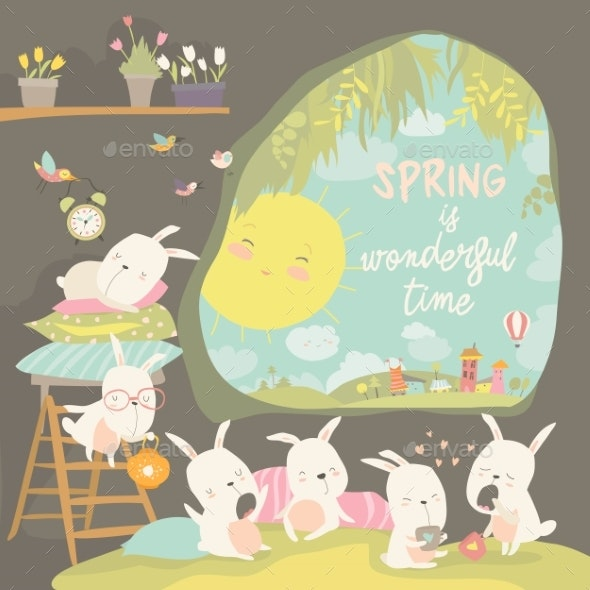 Rabbits Awakening in a Hole Hello Spring - Animals Characters