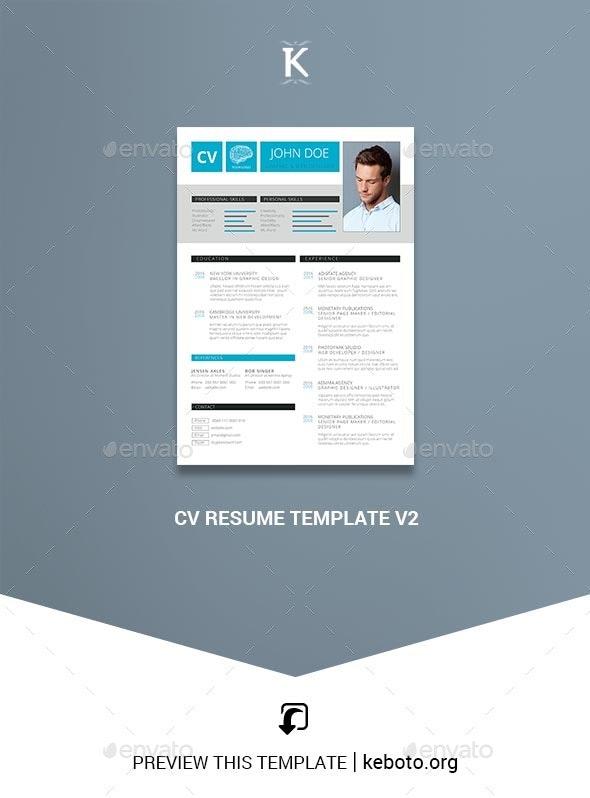CV Resume Template v2 - Resumes Stationery