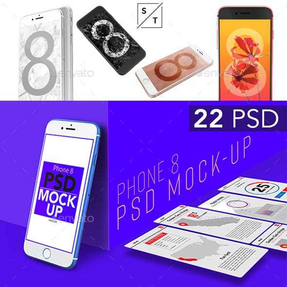 22 Multiple Colors Phone 8 PSD Mockup Set