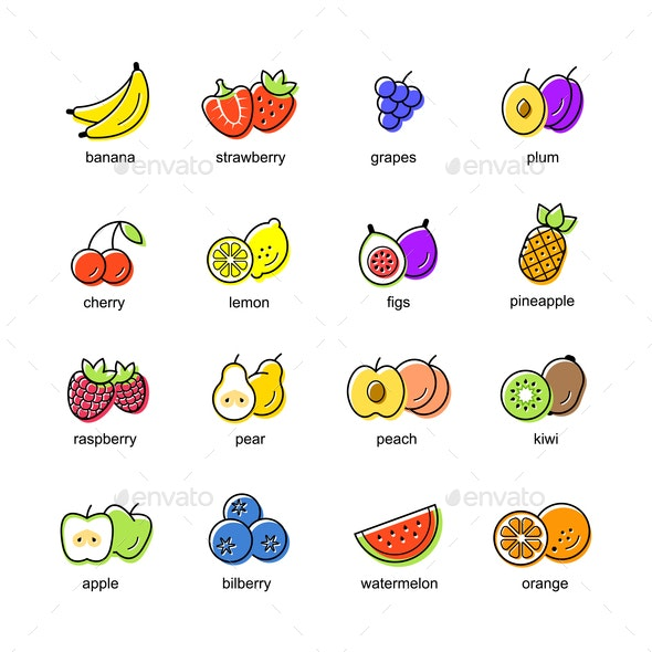 Flat Fruit Icon Set - Food Objects