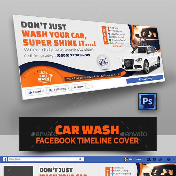 Car Wash Facebook Cover