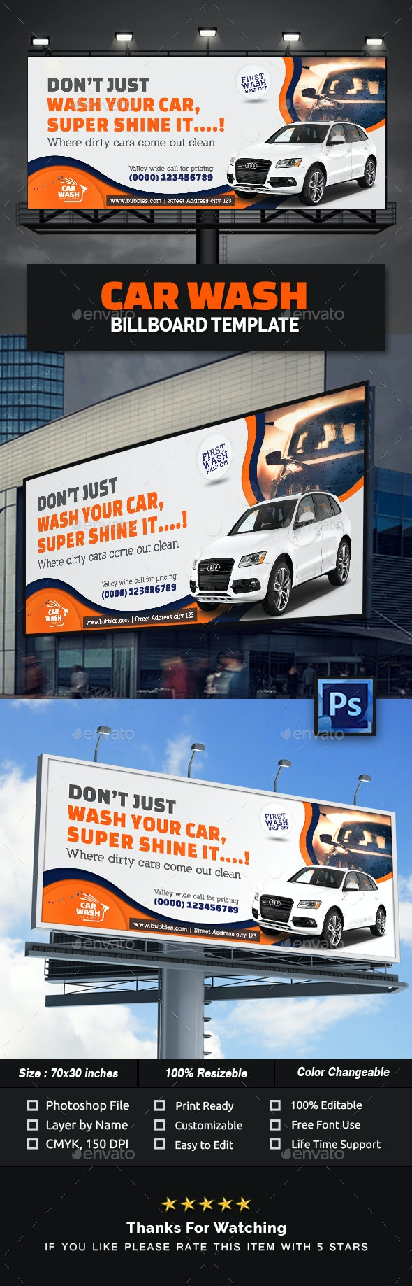 Car Wash Billboard Template - Signage Print Templates