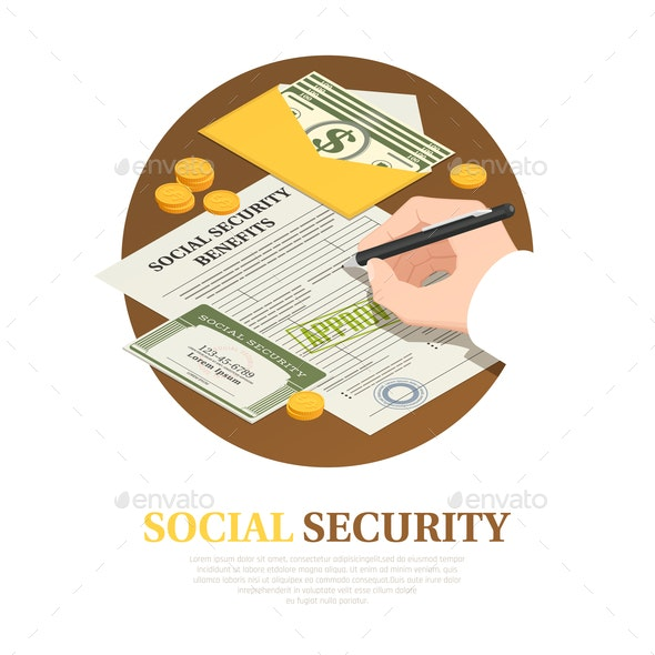 Social Security Benefits Isometric Composition - Concepts Business