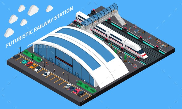 Futuristic Railway Station Isometric Composition - Miscellaneous Vectors