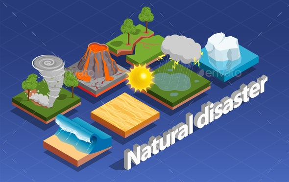 Natural Disaster Isometric Composition - Landscapes Nature
