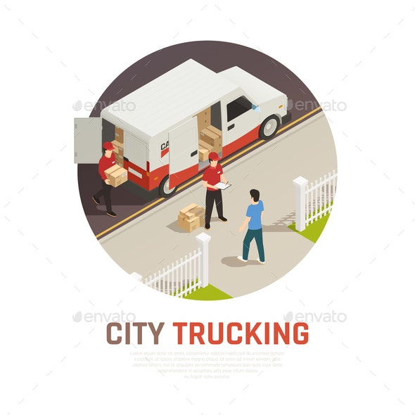 City Trucking Isometric Round Composition - People Characters