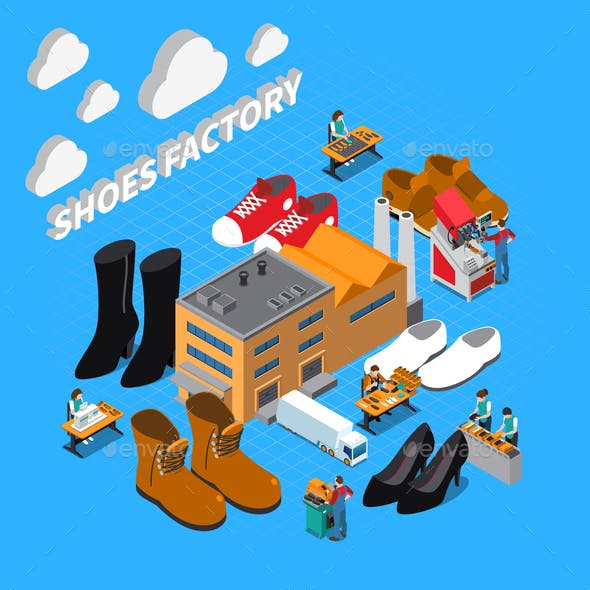 Footwear Factory Isometric Concept