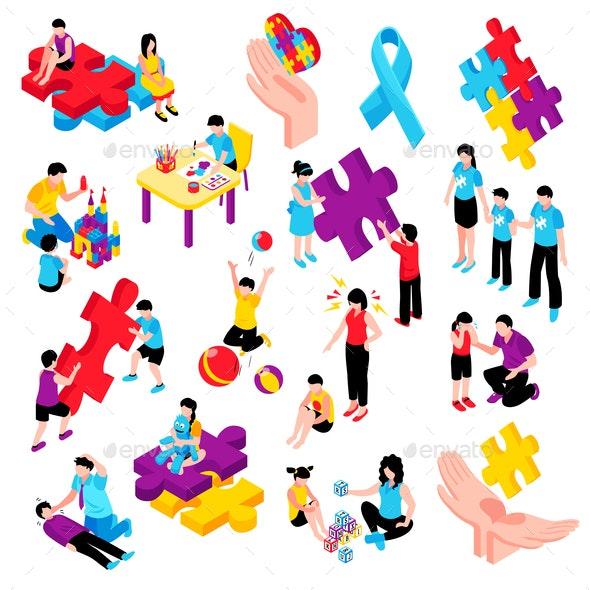Autism Isometric Set - Health/Medicine Conceptual