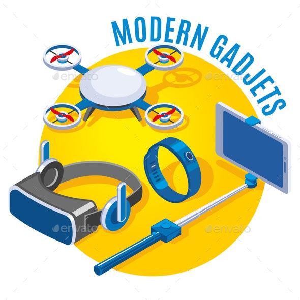 Modern Gadgets Isometric Illustration - Computers Technology